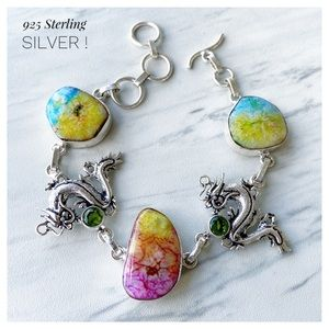 925 Sterling silver rainbow quartz dragon bracelet